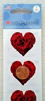 4 Packages Mrs. Grossman's RED ROSE HEART STICKERS Wedding Love Bridal NOS