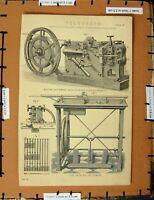 Original Old Antique Print C1800-1870 Telegraph Writing Instruments Ing 19th