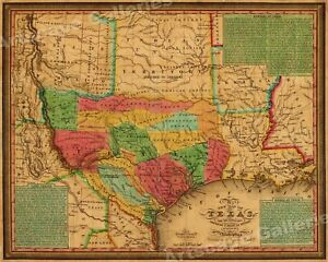 1835 Texas, Indian Territory & Mexican States Map Wall Map - 20x24