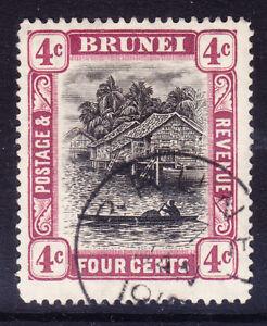 BRUNEI 1910 SG26a 4c grey-black & reddish-purple - wmk MCA very fine used cat£40