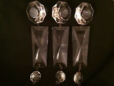 3 Vintage Crystal Chandelier Drops / Prisms