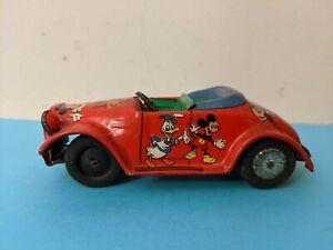 Vintage Linemar Disney Japan Tin Litho Roadster Friction Car Rare!
