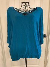 Torrid Women's Blouse Size 2 Plus Size Long Sleeve Solid Blue Shirt Top Clothing