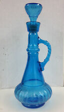Jeanie Bottle, Blue Glass with Stopper - 13 inches tall