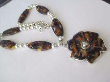 Brown Resin Shell Tortoise LINK Chain FLOWER BIB NECKLACE-- 911