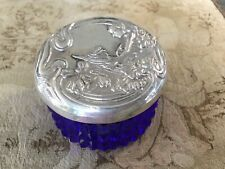 Vintage Art Nouveau w Lady Sterling Top Glass Dresser~vanity~powder Jar Cobalt
