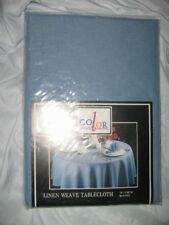 "COLOR CLASSICS 70"" ROUND BLUE TABLECLOTH, LINEN WEAVE, NEW IN PACKAGE"