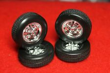 model  parts (4 ) Smooth Sided Tires 4 Beautiful Chrome Wheels With Axle Studs