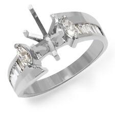 0.75 Ct Marquise Baguette F VS1 Diamond Setting Engagement Ring 14k Gold White