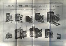 Manifesto Grimaldi Apparecchi Fotografici 1907 -Catalogo Liquidazione Fotografia