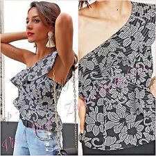SALE Grey Lace Floral One Shoulder Top Size XS S M 6 8 10 US 2 4 6 ❤