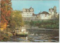 Ansichtskarte Bernburg an der Saale - Blick auf das Schloss mit Boot