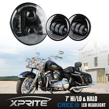 "Xprite 60W 7""LED Round Headlight Spot Fog Passing Lamp kit for Harley Motorcycle"