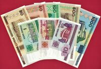 2000 BELARUS GOZNAK SET - 8 UNC NOTES 1, 5, 10, 20, 50, 100, 500 & 1,000 Rubles