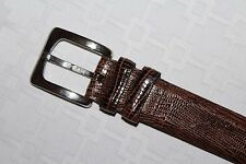 NEW REMO TULLIANI Brown and Black Reptile Leather Belt 34 Silver Italy Buckle