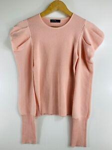 On Twelfth Medium Solid Pink Pullover Rib Knit Sweater Balloon Sleeve
