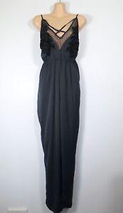 BNWT NEW LOOK dark blue satin & black mesh sleeveless strappy cami jumpsuit, 12