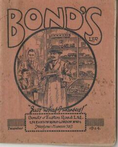 Bonds model railway catalogue 1924 live steam clockwork electric locomotives etc