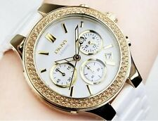 DKNY CERAMIC GOLD CRYSTAL CHRONO WHITE DIAL STAINLESS STEEL WOMEN'S WATCH NY4986