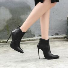 Womens Sexy Pointed Toe Zipper Ankle Boots Stiletto High Heel Shoes Party Big SZ