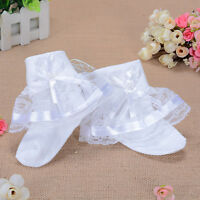 New Girls White Lace Flower Frilly Christening Socks 1-8 Years