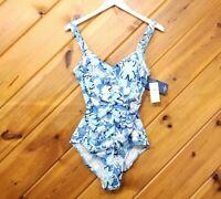 Jantzen One Piece Swimsuit Size Sz 12 Blue Womens Women Suit Bathing White Swim