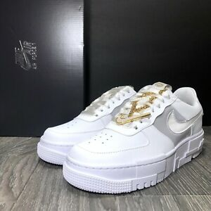 Nike Air Force 1 Gold Chain Pixel Women's Sneakers White & Gold  RARE Size 8.5