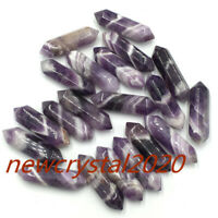 10PC Natural Dreamy Amethyst Quartz Crystal Wand Double Point Reiki Healing