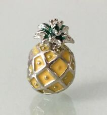 Yellow Pineapple Summer Charm For Bracelets Silver Plated