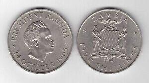 ZAMBIA - 5 SHILLINGS COIN 1965 YEAR KM#4 PRESIDENT KAUNDA LARGE COIN