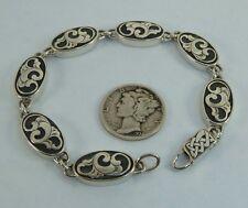 Overlay, Ak Clasp, Konder #350 Vintage Sterling Link Bracelet Florid Victorian