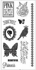 FISKARS Simple Stick GIRLY POSH Rubber Cling Stamps Rose Butterfly Princess