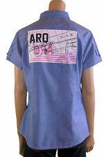 SAHNESTÜCK: EDLE Kurzarm Bluse ARQUEONAUTAS 38/40 M NEU! blau, Rückenmotiv