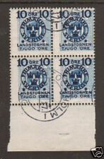 Sweden Sc B17 used 1916 semi-postal Block of 4, Scarce
