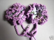 Luggage Bag Tag ID Identifiers 2 Crochet Flowers Lavender