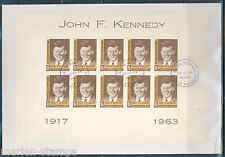 Dominican Republic 1964 John F. Kennedy Sheetlet Of Ten First Day Cover