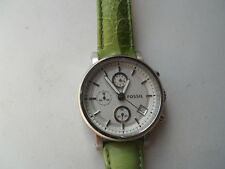 Fossil women's green leather band,quartz,battery & water resistant watch.Es-2393