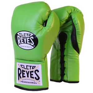 Cleto Reyes Official Lace Up Competition Boxing Gloves - Citrus Green
