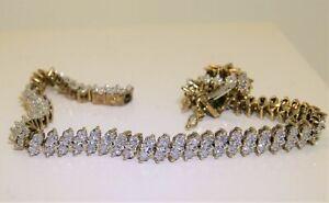 "10.00 Carat Round Diamond MARQUISE LINK Tennis Bracelet 14k Yellow Gold Over 8"""