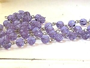 NEW: 1 meter Violet Lilac Crystal Rosary Chain Silver, 8mm faceted round beads
