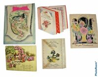 Lot  of 5 Vintage 1920s-1930s Greeting Cards -Get Well Soon - Rust Craft