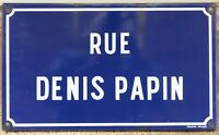 Old blue French enamel street sign road name Denis Papin inventor Saint Quentin