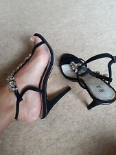 Ravel Black Strappy Jewelled Heels Size 6