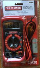 NEW Craftsman 8 Function Digital Multimeter AC DC Volt Ohms Tester LCD + Battery