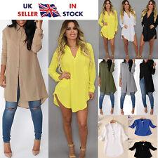 Women Ladies Casual Chiffon Long Sleeve Shirt Oversized Tops Blouse Dress Top UK