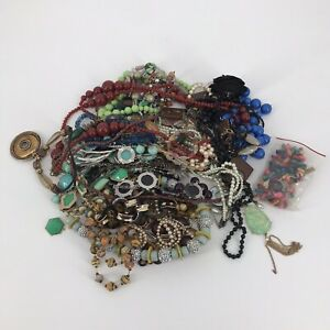 Costume Junk Jewelry Lot 4 lbs Wearable Repurpose Beads Chains Craft Repair DIY