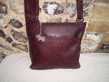 Radley chestnut brown large leather cross body shoulder bag with dog