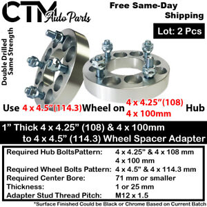 "2PC 1"" THICK 4x100 & 4x4.25"" TO 4x4.5"" WHEEL ADAPTER SPACER FIT HONDA CHEVY&MORE"