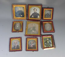 SUPERB RARE FAMILY GROUP OF 9 DAGUERREOTYPE PHOTOGRAPHS BY KILBURN ETC.