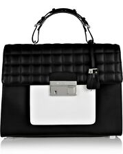 Michael Kors Collection Bag GIA LG Quilted Colourblock Satchel Black New